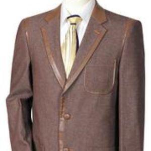 Other - Men's Denim 2pc Suit W/faux Leather Contours
